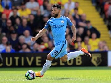 Kun Agüero, en un partido del Manchester City