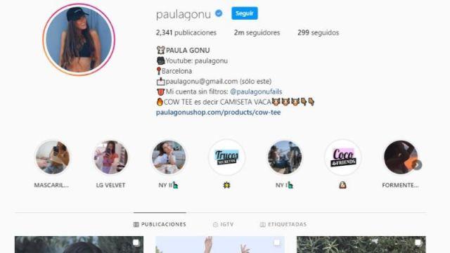 Perfil de Instagram de Paula Gonu