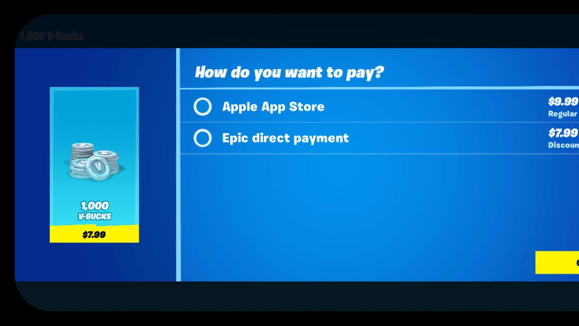 Modelo de pago directo de Epic Games en Fortnite