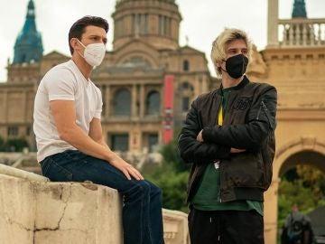Tom Holland y Rubius durante el rodaje de Uncharted