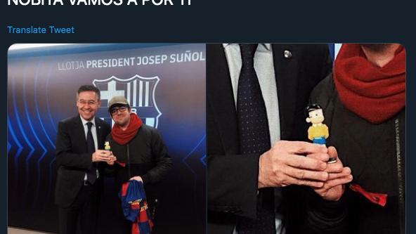 Josep Maria Bartomeu y AuronPlay hacen las paces