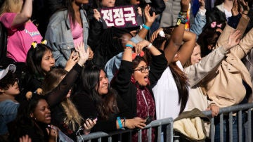 Aficionados al K-pop en un concierto de BTS