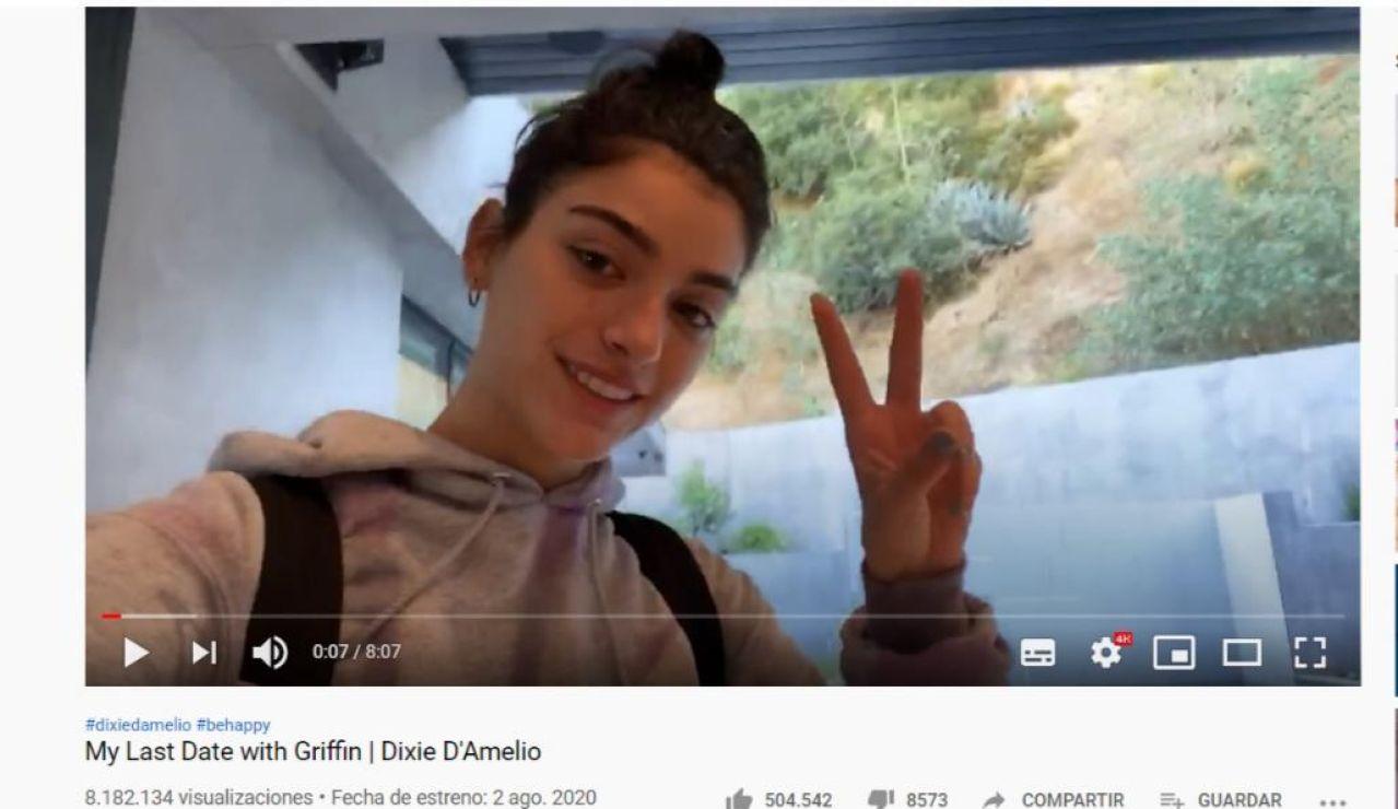 Dixie D'Amelio en su último vídeo de YouTube