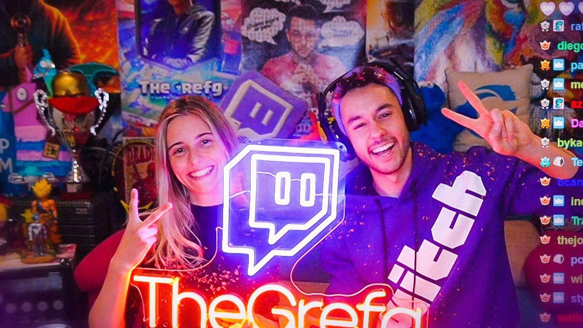 Gemmita y TheGrefg celebrando los 5 millones de seguidores en Twitch