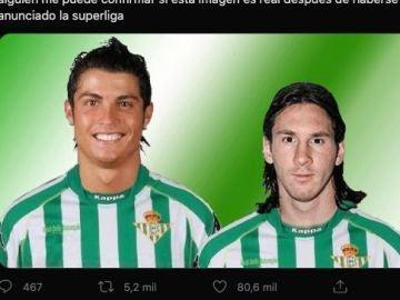 ¿Cristiano y Messi en la Superliga? No, es un meme