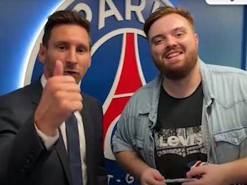Messi en su encuentro parisino con Ibai